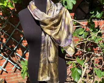 Silk scarf ecoprint, painted with plants, grey, olive green, lilac, leaf prints, unique ladies gift