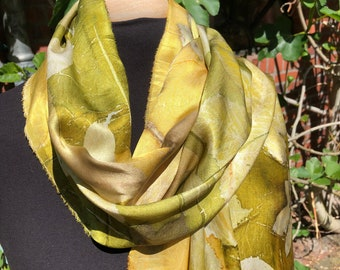 Silk scarf ecoprint, painted with plants, moss green, golden yellow, leaf prints, unique ladies gift