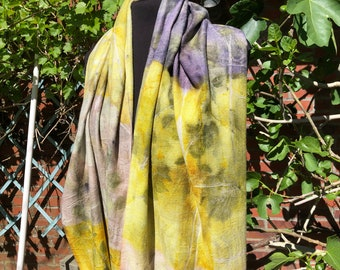 Ecoprint scarf made of merino wool, painted with plants, purple, yellow, pink, print leaves, unique ladies gift