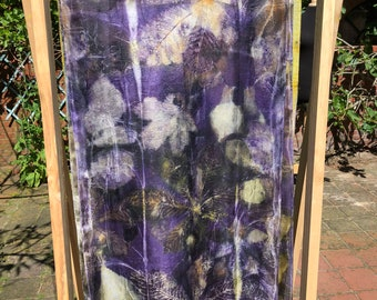 Ecoprint silk scarf, pure silk dyed with plants, blue-purple green yellow brown, print of leaves, unique ladies gift