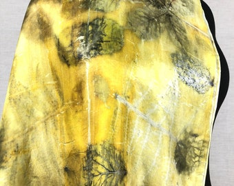 Ecoprint silk scarf, pure silk dyed with plants, gold yellow with grey green, print of leaves, unique ladies gift