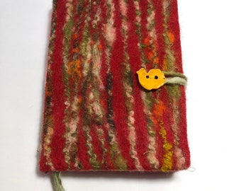 Dummy book with hand felted book cover, A5 format, incl. booklet, merino wool,silk,diary,guestbook,mother's day gift, unique gift