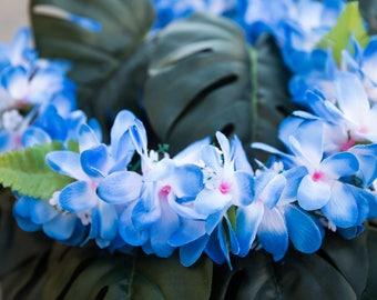 Silk lei etsy deluxe silk flower lei blue plumerias mightylinksfo