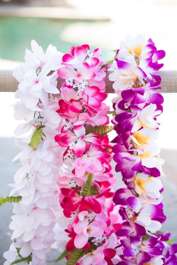 Bundle deluxe silk flower lei 3 plumerias leis etsy image 0 mightylinksfo