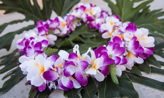 Deluxe Silk Flower Lei Purple White Plumerias Etsy