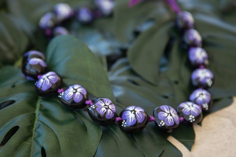 Kukui Nut Lei Hand Painted Purple Hibiscus Etsy