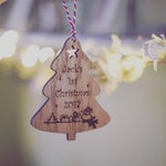 Personalised Baby First Christmas Tree Wooden Decoration