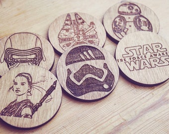 Force Awakens set of 6 Coasters (Star Wars Inspired)