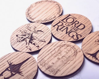 Lord Of The Rings Inspired Coasters - Father's Day gift ideas, Father's Day gift, Lord of the rings fan, coaster gift set, LOTR Gift, Hobbit