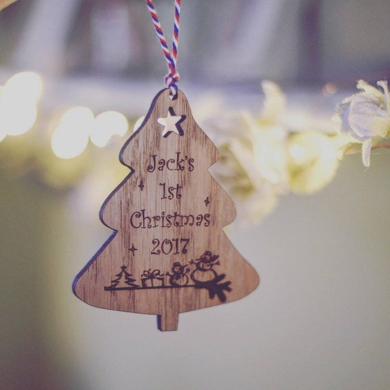 Personalised Baby First Christmas Tree Wooden Decoration image 0