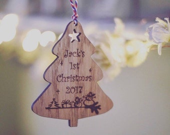 Baby's First Christmas Bauble   Personalised Babies 1st Christmas   Newborn Christmas Keepsake   Gift For New Family   Wooden Decoration