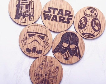 Star Wars Inspired Coasters - Father's Day Gift Ideas | Father's Day | Star Wars Fan Gifts | Wooden Cooasters | Darth Vader Gift |