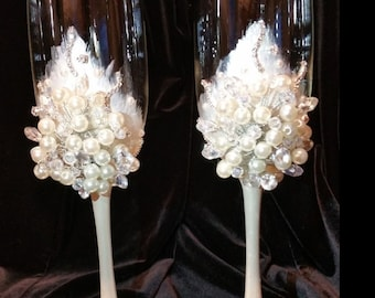 Wedding Champagne Glasses,Toasting Flutes,Bride & Groom Champagne glasses