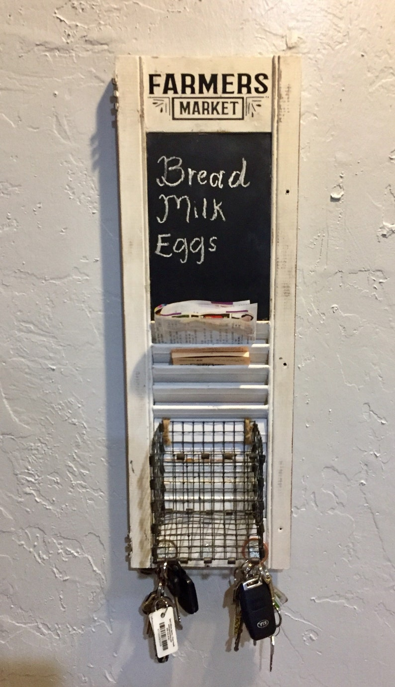 Vintage Shutter Chalkboard Organizing Station -Weekly Planner File Holder -  Farmhouse Blackboard Menu - Kitchen Storage with Basket & Knobs
