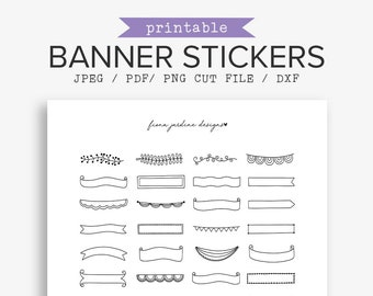 Blank Banner Doodle Stickers, Hand Drawn Printable Stickers, Decorative Bullet Journal Stickers, Accessories for Planners and Notebooks