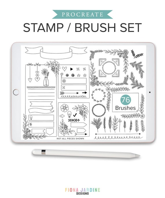 76 Procreate Stamps for Creating Bullet Journal and Digital Planner Layouts Daily Planner Digital Stamps BUJO Layout Procreate Brushes