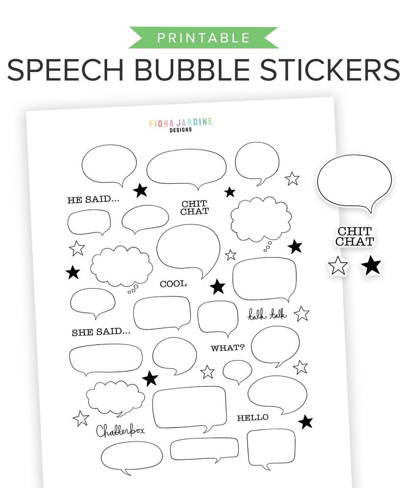 photograph about Printable Speech Bubbles identify Speech Bubble Printable Planner Stickers, Hand Drawn Printable Bullet Magazine Stickers for Rates, Titles Terms, Adorable Printable Stickers