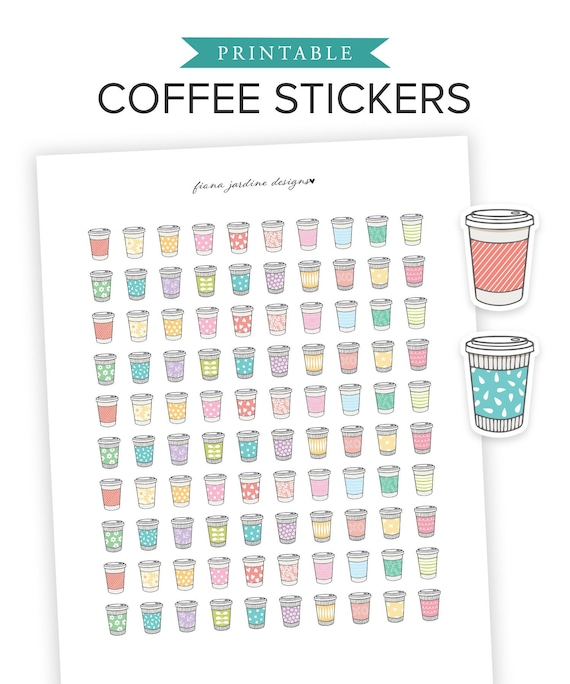 image relating to Cute Printable Stickers named Printable Espresso Stickers for Day by day Planner, Lovely Printable Bullet Magazine Espresso Cup Stickers, Printable Planner Stickers for Espresso Enthusiasts