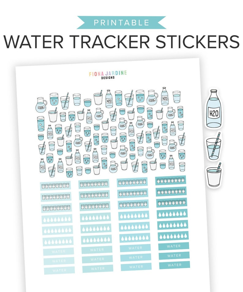 photo regarding Water Tracker Printable called H2o Tracker Printable Planner Stickers, Hydration Printable Stickers for Day-to-day Planner Bullet Publications, Practice Stickers for Physical fitness Ambitions