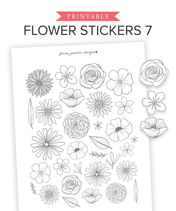 Bloom 36 Sheets Flower Stickers Scrapbook Stickers Decoration Sticker Planner Stickers Assorted Plant Stickers Clear PET for Scrapbooking Journaling Diary Album DIY Arts and Crafts