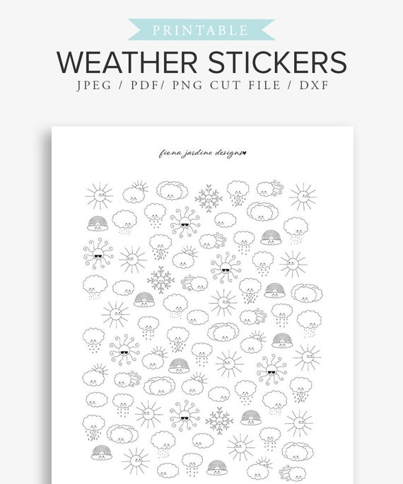 image regarding Bullet Journal Stickers Printable known as Printable climate stickers for Bullet Publications, Printable Magazine stickers, Hand drawn BUJO stickers, Kawaii Stickers, Planner stickers