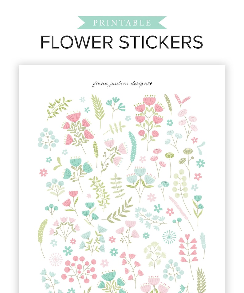 photograph about Bullet Journal Stickers Printable named Flower Printable Planner Stickers, Printable Bullet Magazine Stickers, Attractive Floral BUJO Stickers, Hand Drawn Botanical Plant Stickers,