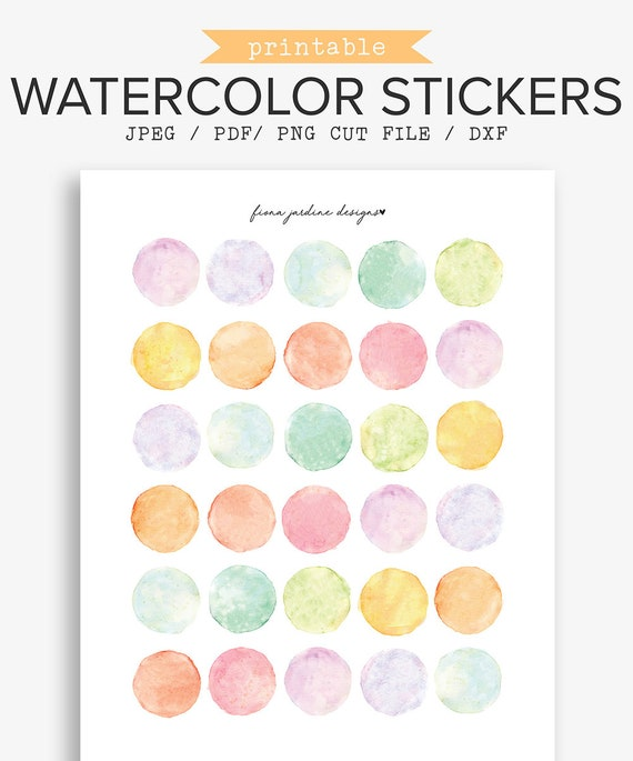 bullet journal stickers  Printable Watercolor Bullet Journal Stickers Hand Painted | Etsy