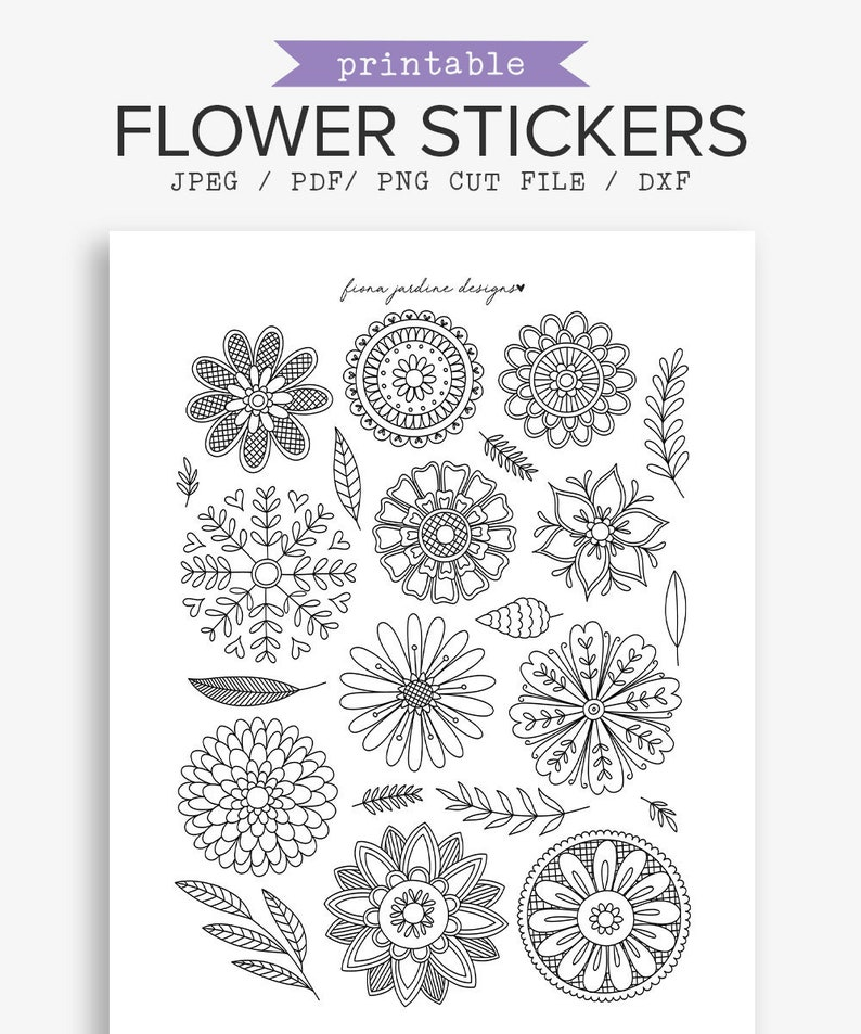 photo relating to Colored Printable Labels called Bullet Magazine Printable Coloring Stickers, Vacationers Laptop Flower Stickers, Hand Drawn Floral Doodles, Black White Coloring Internet pages