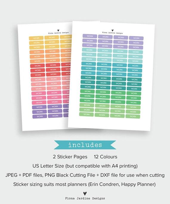 printable rainbow colored work planner stickers work header etsy