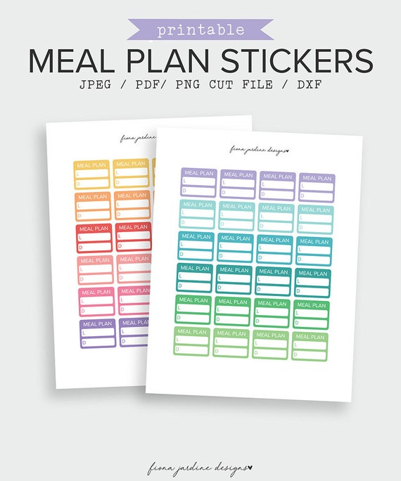 printable meal plan stickers for daily planner meal planning etsy
