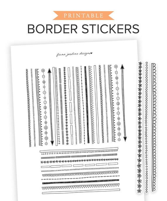 9c820c824580f Printable Hand Drawn Doodle Borders, Printable Bullet Journal Decorative  Stickers, BUJO Stickers for Edging, Dividers and Sections