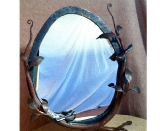 "Vanity mirror, free standing, hand forged metal bird and tree, organic, natural beauty 27"" X 22"""
