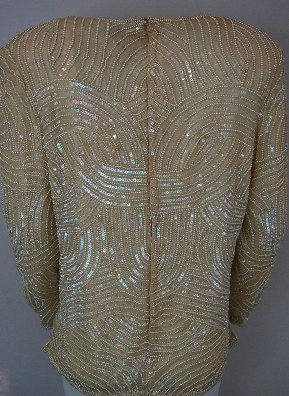 Formal bridal blouse   Ivory white sequin blouse … - image 4