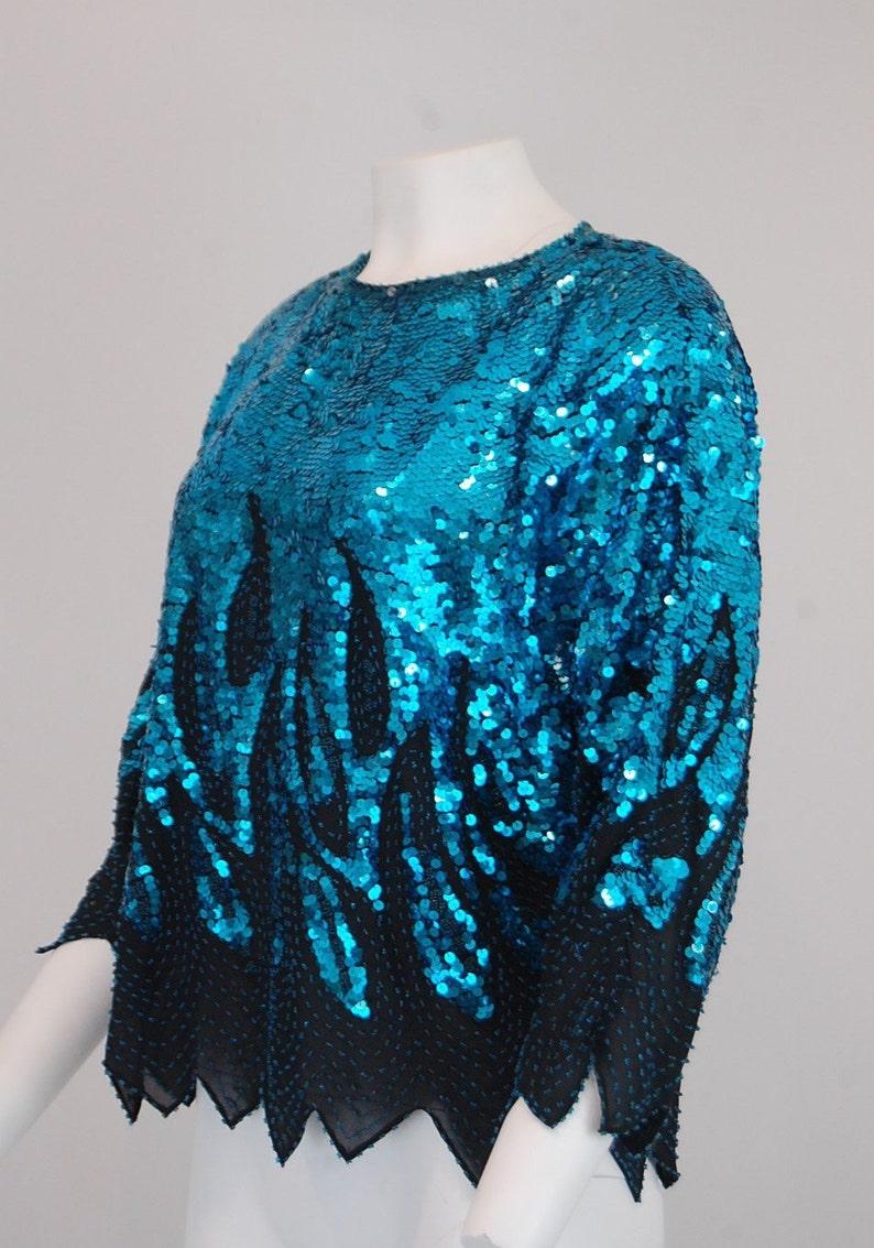 Special occasion party blouse Large Aqua blue sequin blouse 80/'s retro glam vintage clothing Women/'s vintage evening blouse