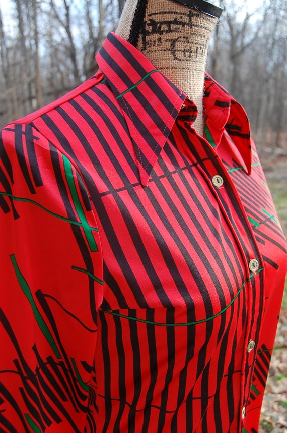70's Japanese retro button-up |modern abstract pa… - image 3