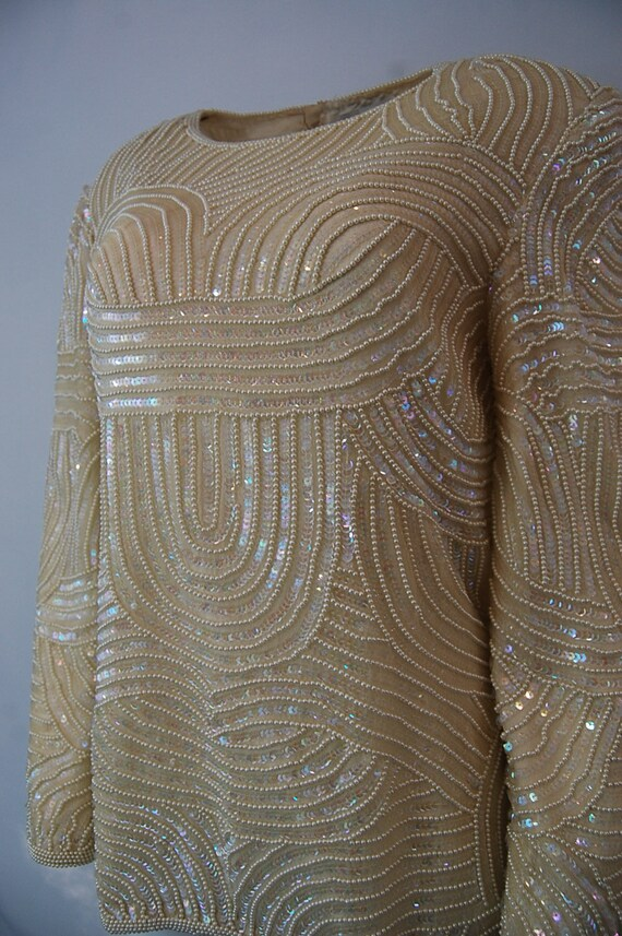 Formal bridal blouse   Ivory white sequin blouse … - image 2