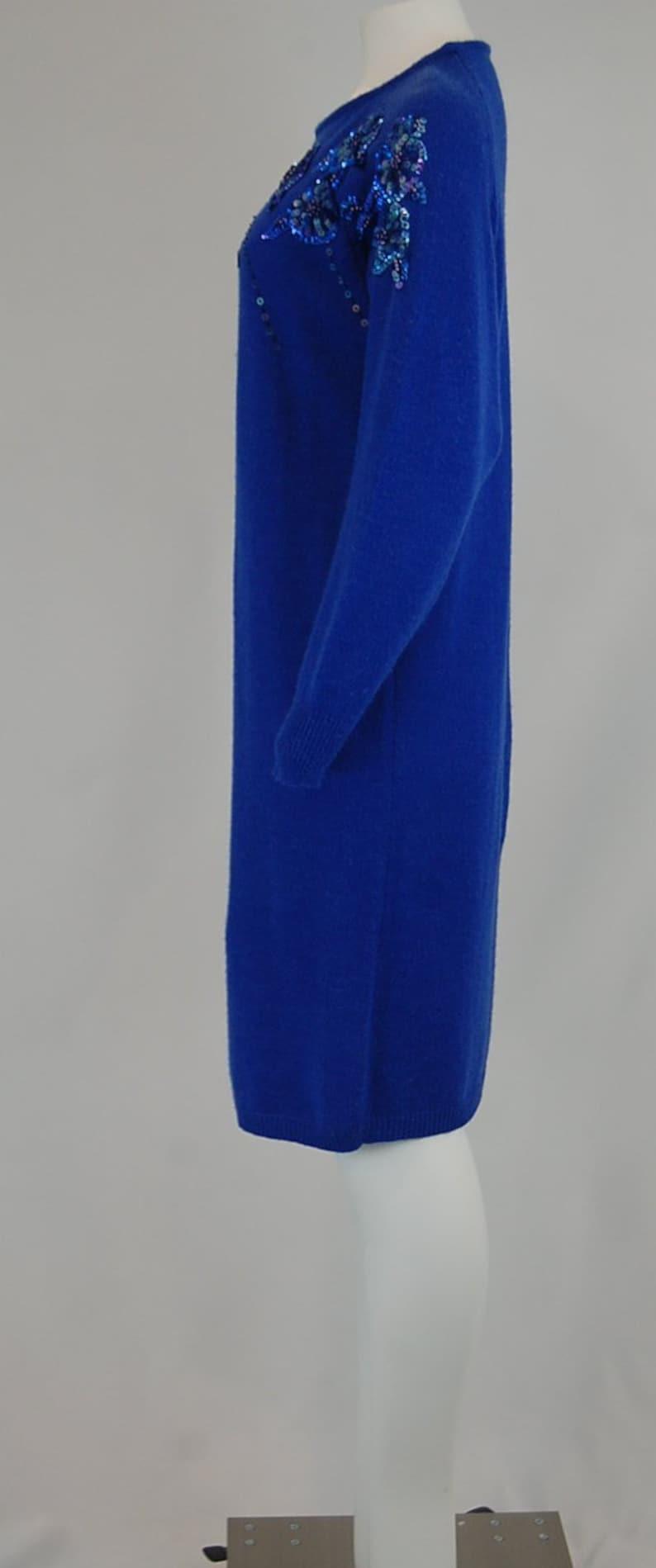 7b6dea26f5 80 s 90 s cobalt blue sweater dress Glam sweater
