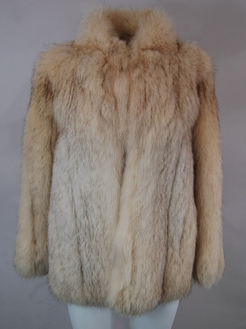 cd29b6008a3 Women s white fox fur coat 70s vintage fur coat Disco