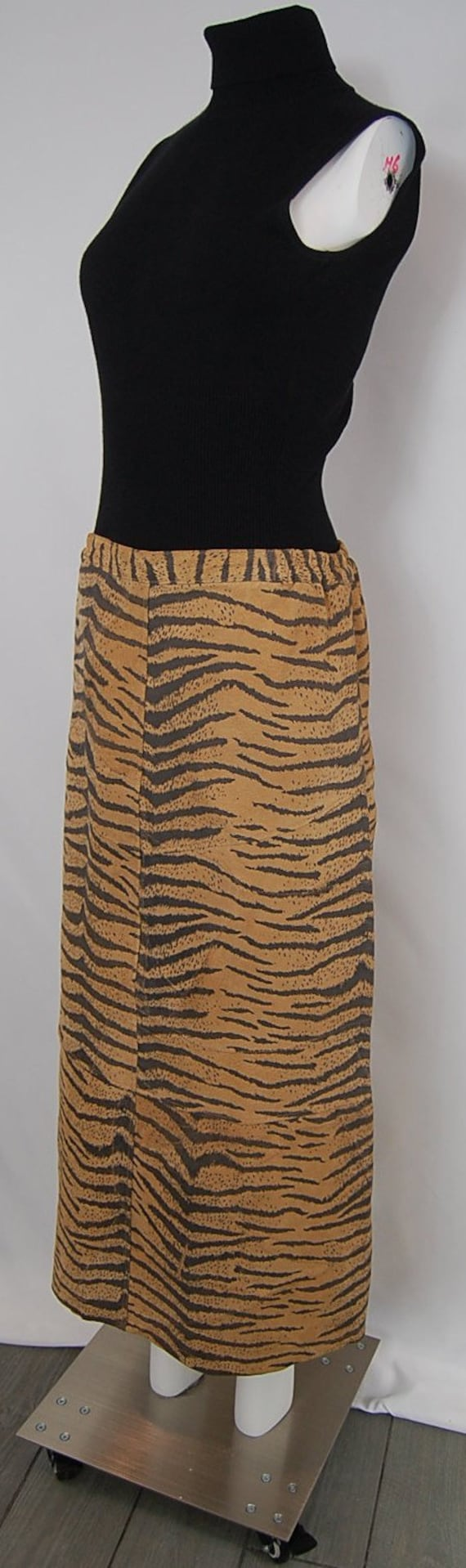 Tiger striped maxi skirt in camel and black suede