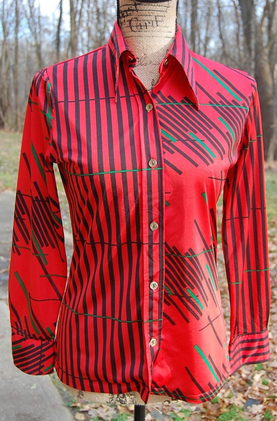 70's Japanese retro button-up |modern abstract pa… - image 2