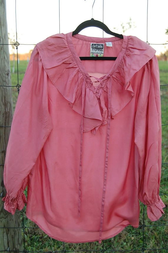 Poet blouse with long sleeves | 100% silk Pink blo