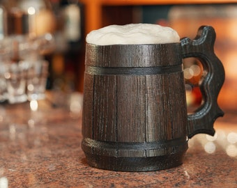 Premium Handmade Wooden Beer Stein - Oak Wood Pint Beer Tankard Mug - Gift For Craft Beer Enthusiasts - Unique Conversation Starter