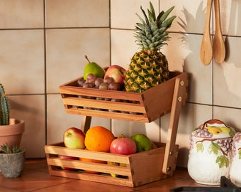 Wooden Two Tier Vegetables And Fruit Storage Rack | Free Standing Countertop Worktop Food Bowl Tray Basket For Kitchen Counter Top