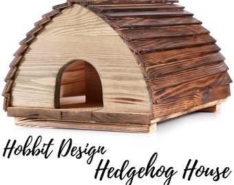 Wooden Hedgehog House - Charming Hobbit Design - Solid Wood Construction - Hedgehogs Feeding Station - Winter Hibernation Shelter For Garden