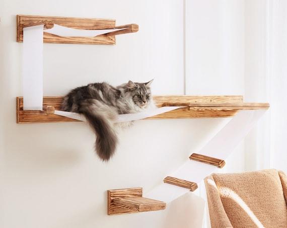 Large Wall Mounted Cat Shelf Play, Wall Mounted Cat Furniture Uk
