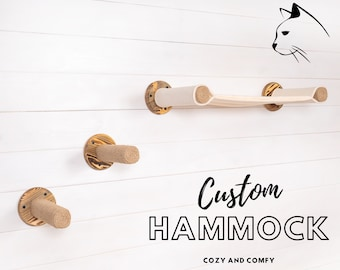 Wall Mounted Custom Hammock With Seisal Rope Cat Post Steps - Durable Wood Cat Stepper Perch Shelf - Wooden Cat Wall Furniture