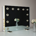 WHITE and GOLD Frameless Hollywood Lighted Vanity Makeup Mirror Dimmable