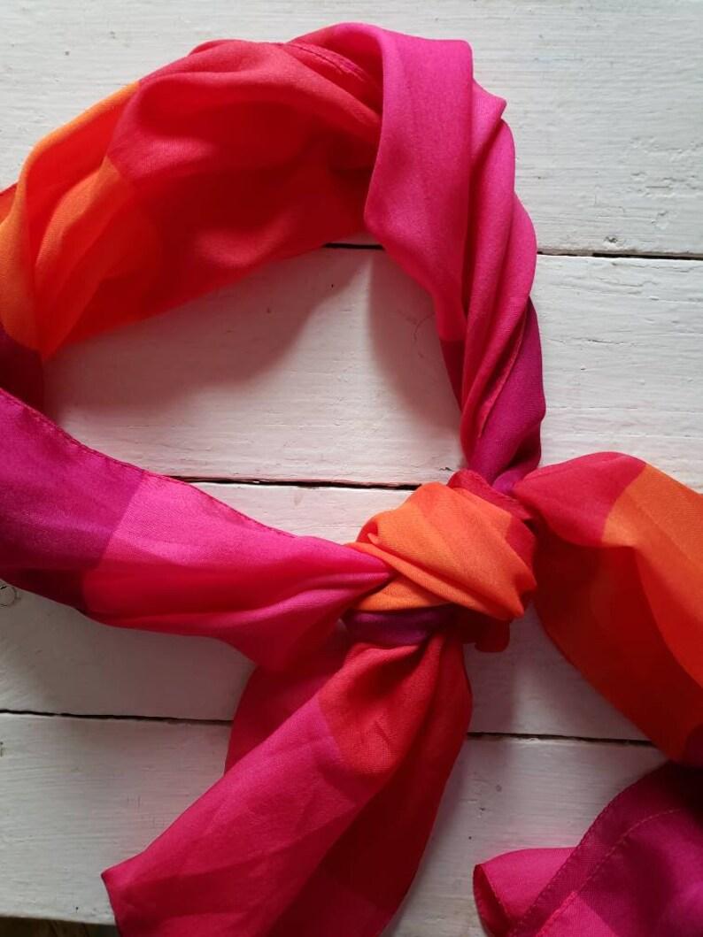 Vintage Silk Pink Scarf Mod Scarf  Head Scarf Neck Scarf image 0