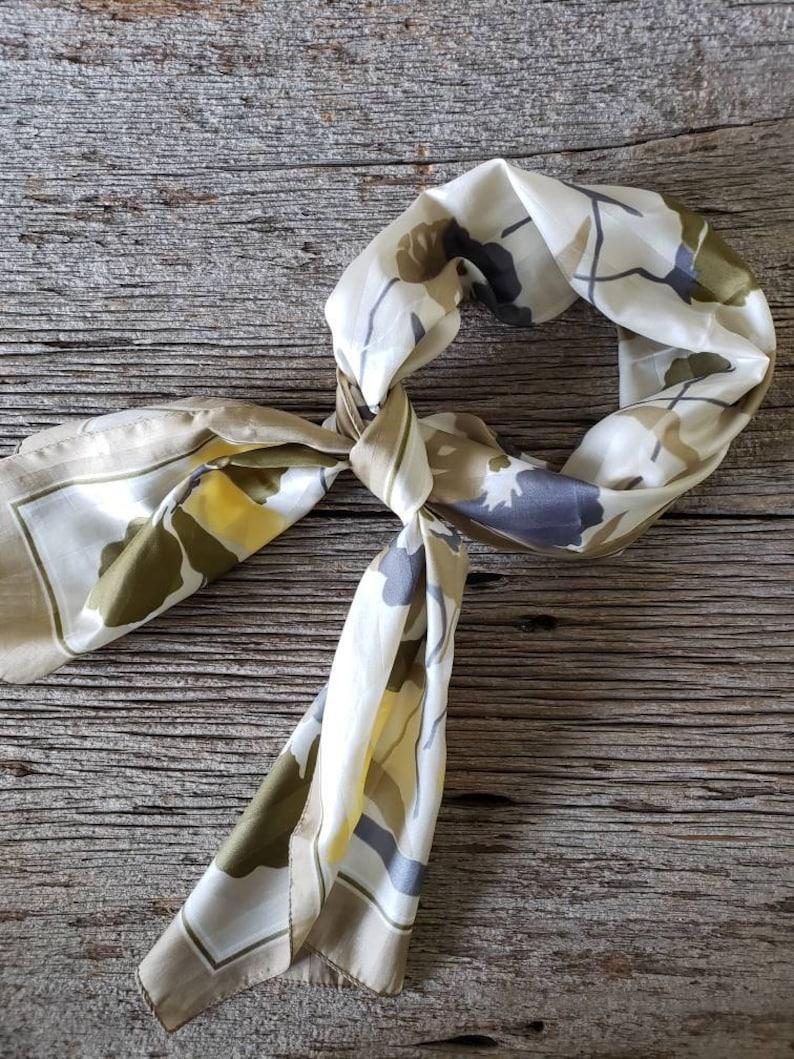 Vintage Silk Scarf Mod Scarf  Head Scarf Neck Scarf Silky image 0