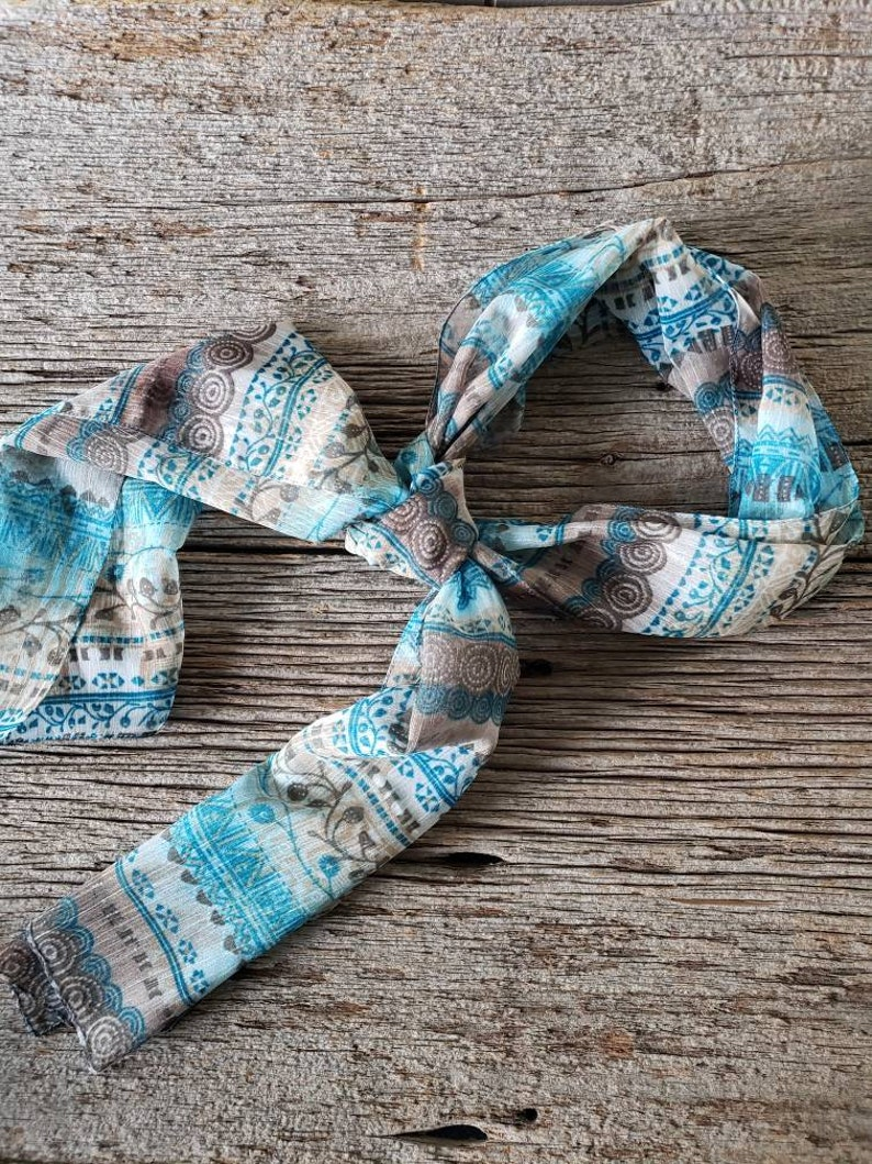 Vintage Sheer silky scarf Headband Scarf Neck Scarf Sheer image 0
